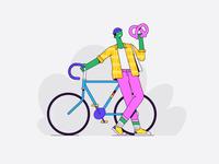 Berlin guy germany german berlin funky pattern clothing outline hipster bicycle bike character illustration vector patswerk