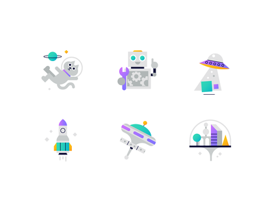 Icons empty state ufo cat icons ux ui design space icon character illustration vector patswerk