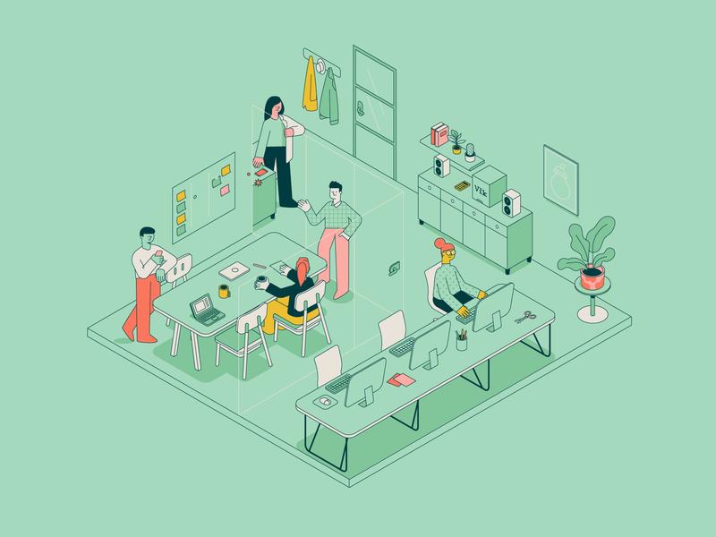 Office customer workspace landingpage desk texture store outlines pattern isometric character illustration vector patswerk