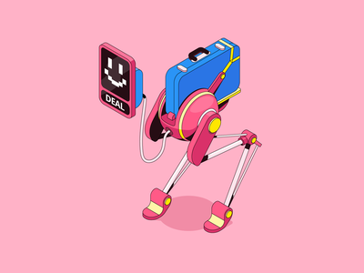 Robinhood app #2 tools futuristic tech robot app outlines isometric character illustration vector patswerk