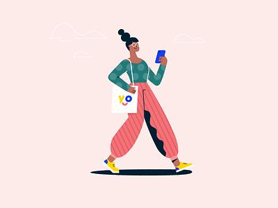 Walking pattern totebag selfie phone walk walking woman character illustration vector patswerk
