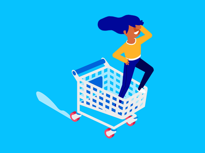 Go cart shopping cart trolley shopping gif animation illustration character isometric vector patswerk