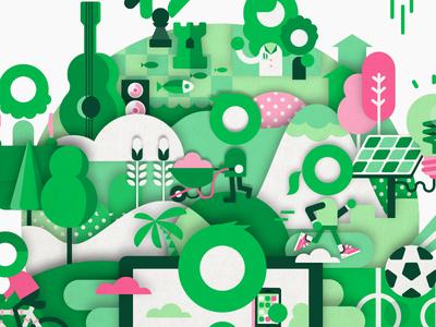 1% Club patswerk vector illustration layered shadow running gardening platform green world