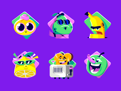 Squla badges sticker candy fruit kids badge icon character illustration vector patswerk