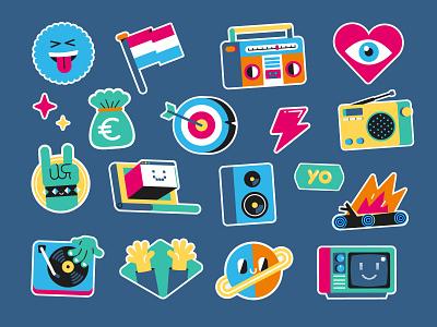 Radiocorp stickers identity rock music radio record stickers sticker icons icon character illustration vector patswerk