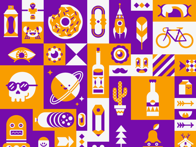 Block jam patswerk vector illustration pattern donut skull bottle moustache planet robot rocket pencil