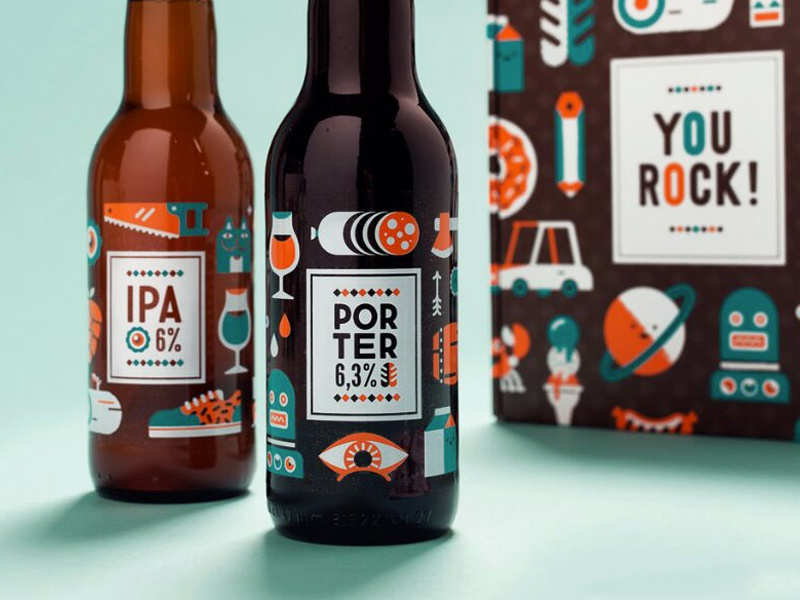 YOU ROCK! patswerk vector illustration packaging beer ipa porter homebrew type silkscreen icons