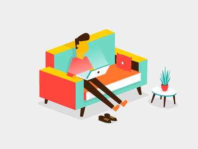 Isometric lounging character plant webshop computer laptop couch isometric illustration vector patswerk