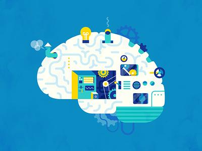 Brain Machine cogs cog steampunk machine brain flat illustration vector patswerk