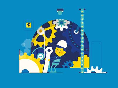 Engineroom tools character engine machine cogs cog worker engineer vector illustration patswerk