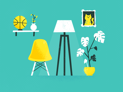 Stuff flat design office retro lamp cat basketball plant eames chair furniture vector patswerk
