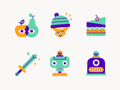Icons funky flat sword apple fruit robot icons icon character illustration vector patswerk