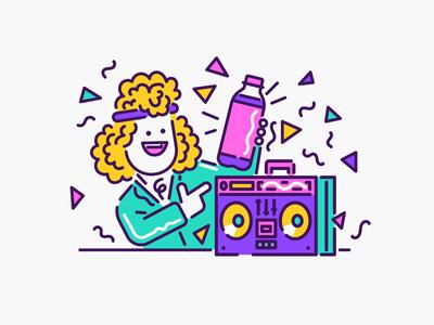 I'm a 80's guy line art funky retro 80s radio character illustration vector patswerk
