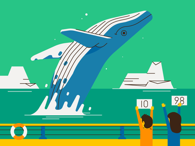 A whale lotta love flat design sea water nature arctic whale illustration vector patswerk