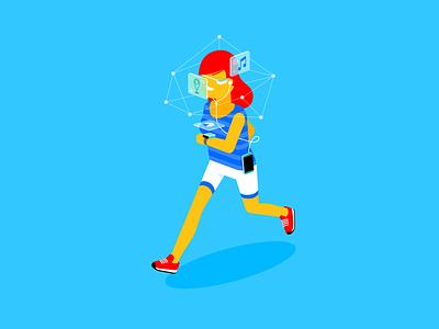 Head in the cloud smart watch google glass isometric future interface data cloud jog run running woman girl