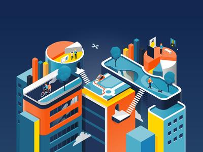Data city analytics start up park buildings graph data people 3d city isometric illustration patswerk