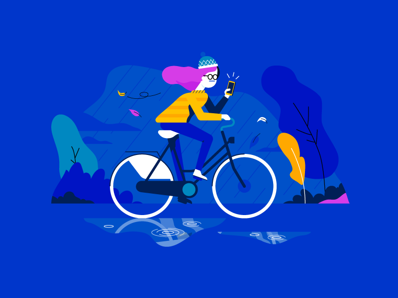 Cycling autumn phone wind storm rain bicycle bike woman girl illustration vector patswerk