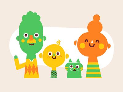 Family fun group kids portrait cat family woman man illustration vector patswerk