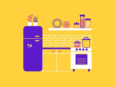 Bork børk börk yo pots fridge oven plant cooking home icon kitchen illustration vector patswerk