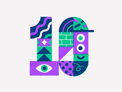 10 Year anniversary geometric mid century blocks pattern texture retro vintage number typography birthday anniversary vector