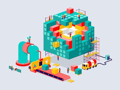 Building a digital world machine 3d workers construction building app digital world isometric illustration vector patswerk
