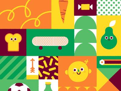 Pattern skateboard arrow sandwich kids shapes pear texture vintage pattern illustration vector patswerk