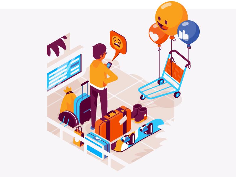 Social airport social media phone snowboard luggage app airport isometric illustration vector patswerk