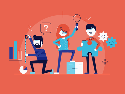 Analyze this teamwork icons office puzzle analyse data team characters illustration vector patswerk