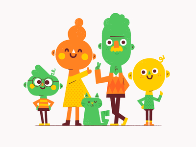 Fam kids woman cat mom dad family portrait illustration vector patswerk
