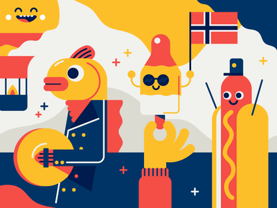 Snapchat parade summer hotdog snapchat balloon parade fish icecream flag norway illustration vector patswerk