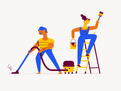 Cleaning vacuum cleaning work couple diy painting cleaning woman man character illustration vector patswerk