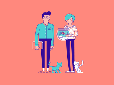 Pets couple pet care fish cat outline woman character illustration vector patswerk