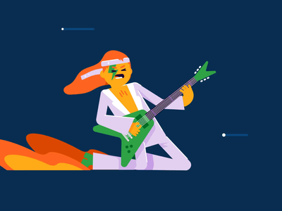 ROCK! guitar rocker rockstar rock charachter loop animation gif vector patswerk
