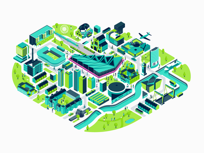 Belfast transport roads infrastructure development houses maps buildings city belfast isometric illustration patswerk
