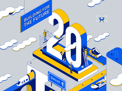 Logistics lineart line typography anniversary container future building transportation train drone car logistics city isometric illustration vector patswerk