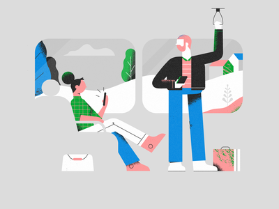 Passengers landingpage communication character design web illustration commute transport styleframe contact phone train textures woman illustration vector patswerk