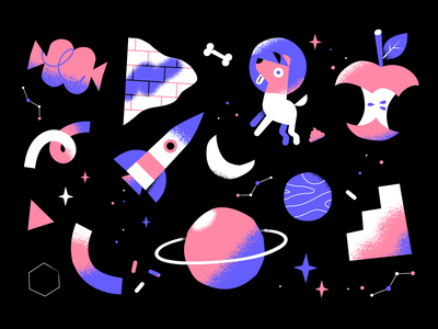 Laika cosmos abstract wallpaper launch rocket laika planet apple candy dog space pattern character illustration vector patswerk