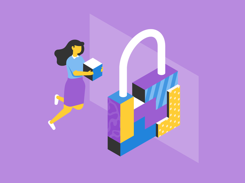 Online security encryption blockchain lock safety security privacy onboarding data space pattern woman isometric character vector patswerk