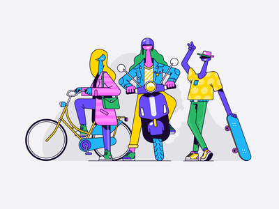 The cool kids friends hipster landingpage group bicycle bike skateboard skate kids teenager app ui woman character illustration vector patswerk