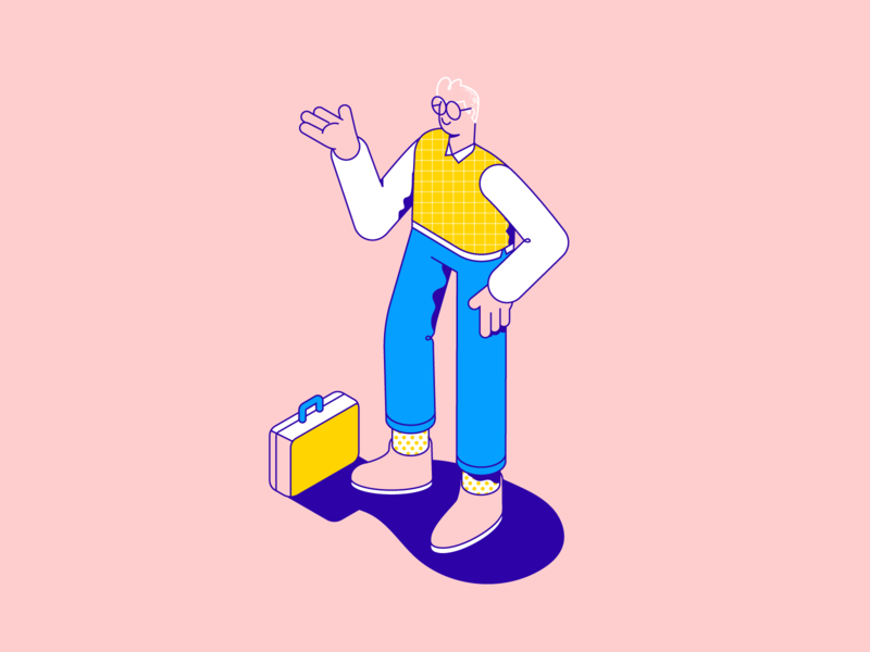 Isometric test pattern lineart line working nerd suitcase man isometric character illustration vector patswerk