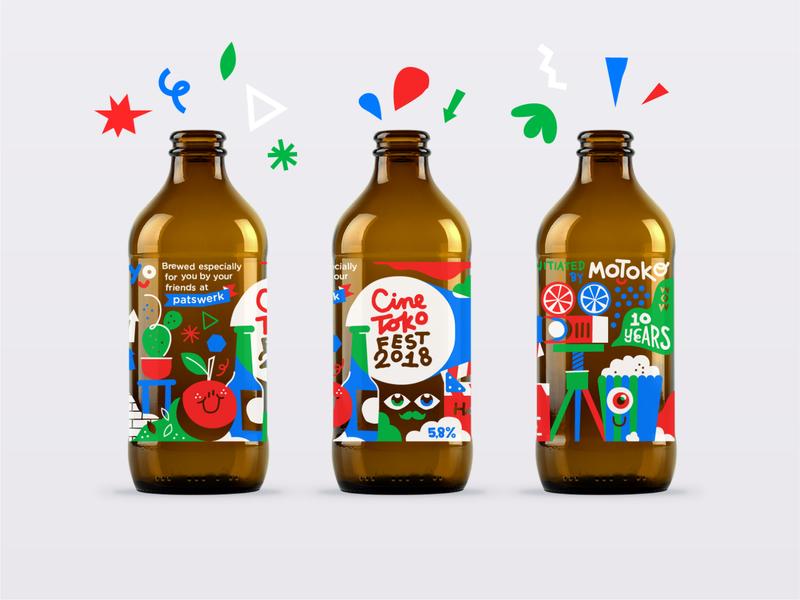 CINETOKO BEER festival party packaging bottle beer pattern illustration vector patswerk