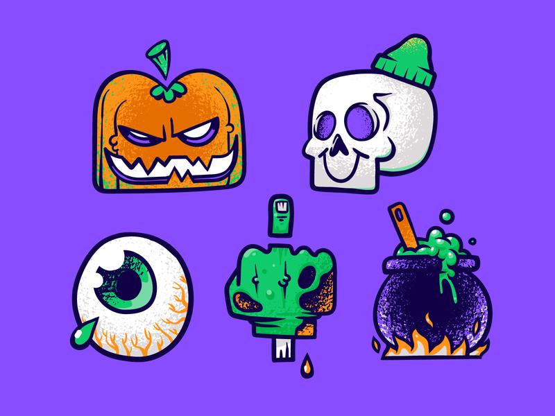 Halloween Stickerpack illustration character cauldron texture outline hipster patswerk icon hand drawn finger hand eye jackolantern inktober pumpkin skull horror stickers sticker halloween