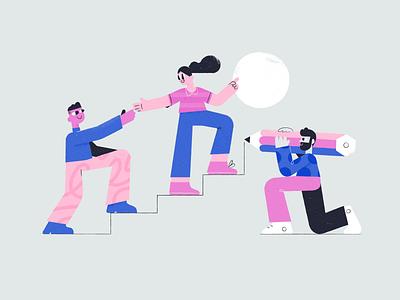 Teamwork progress team tools startup helping together teamwork ui texture pattern woman character illustration vector patswerk
