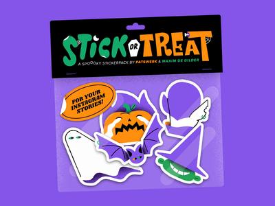 Stick or Treat Stickerpack sticker pack animation pumpkin vampire horror trick or treat halloween stickerpack sticker character illustration vector patswerk