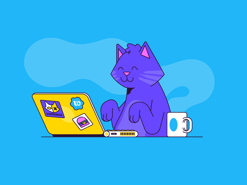 e-meow pet desk coffee mail meow platform monday office work laptop computer cat character illustration vector patswerk
