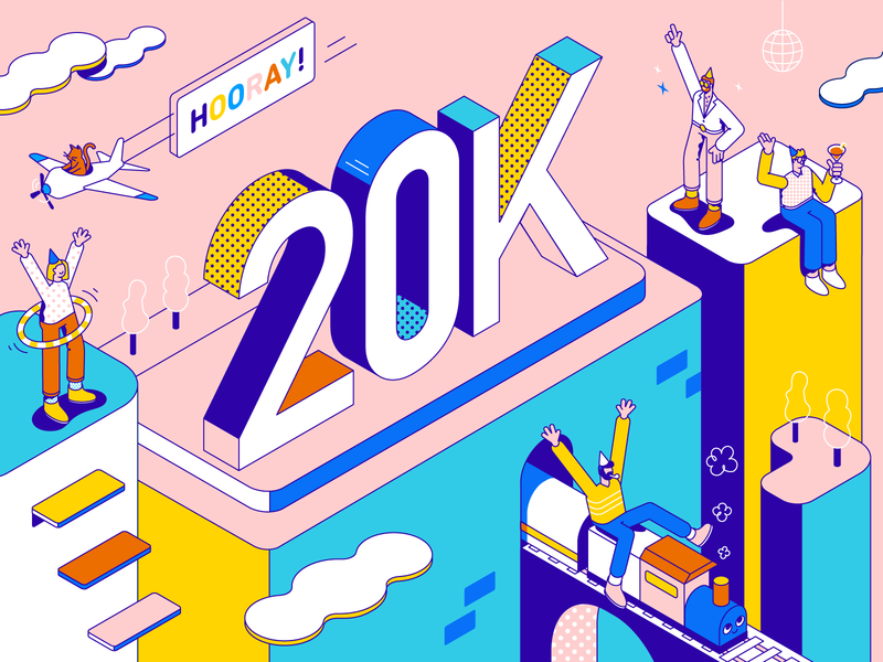 Hooray 20K! dance outlines type typography building airplane logistics train cat funky disco celebration party isometric character illustration vector patswerk