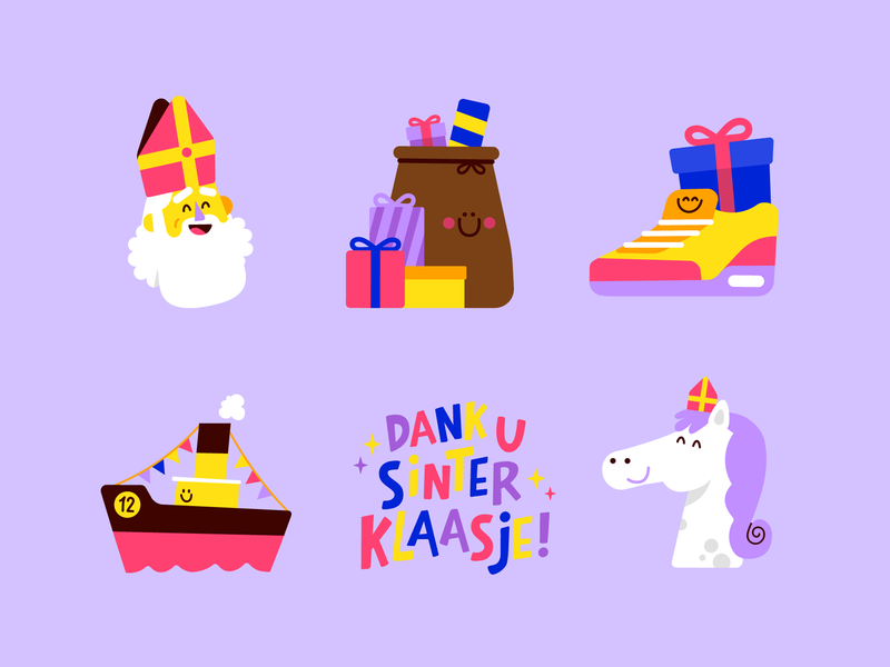 Stickerklaas handlettering typography type cute kids boat presents horse party holidays sticker set stickers sticker snapchat icon character illustration vector patswerk