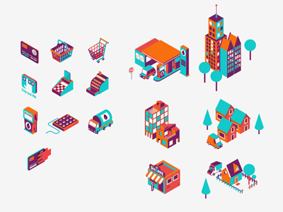Isometric icons icons isometric vector illustration patswerk city