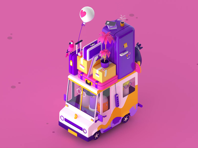 We've moved cinema4d c4d travel moved loop car truck 3d gif animation gif character isometric illustration vector patswerk