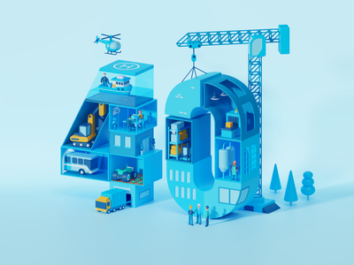 40 isometric illustration c4d office characters crane construction building truck landingpage render type typography 3d patswerk